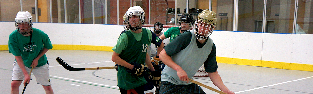 Notre Dame Recsports Intramural Sports Floor Hockey Close Up Spring 2016 Featured Image